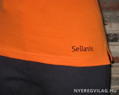 572dae0d36 Narancs-fekete póló lómintával - Nyeregvilág Lovas ruházat, női ...